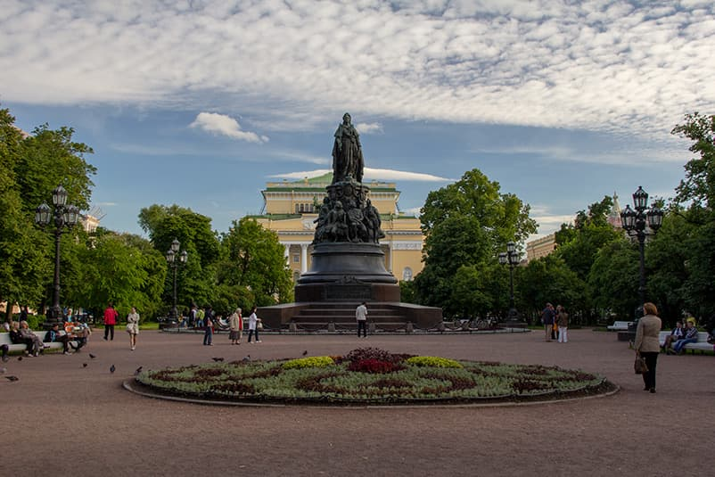 Monument to Catherine the Great and Alexandrinsky Theatre